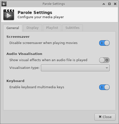apps:parole:preferences [Xfce Docs]