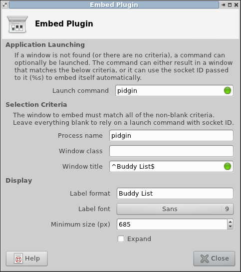 Buddy list embedding configuration dialog
