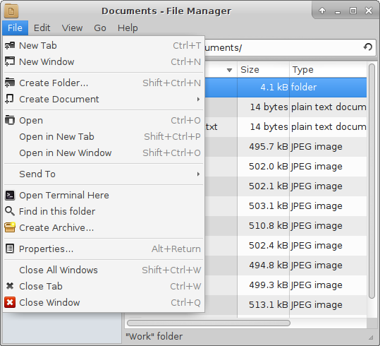 File menu - folder selected