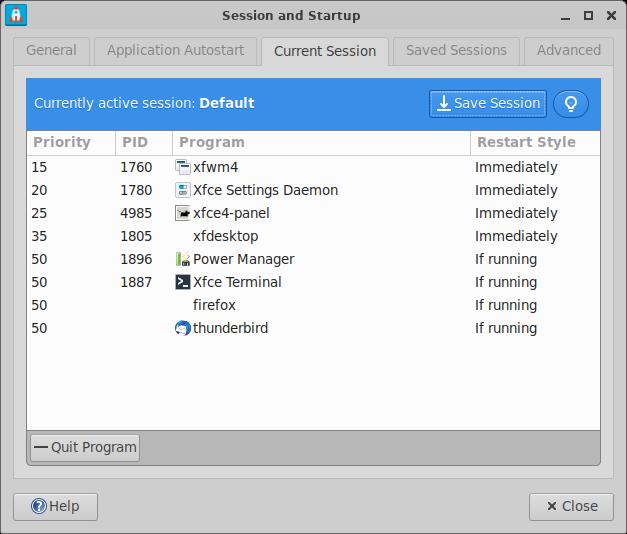 xfce:xfce4-session:preferences [Xfce Docs]