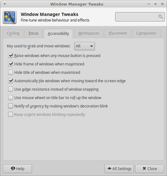 Window Manager Tweaks - Accessibility